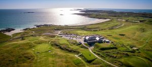 Ariel view of connemara golf course in Ireland