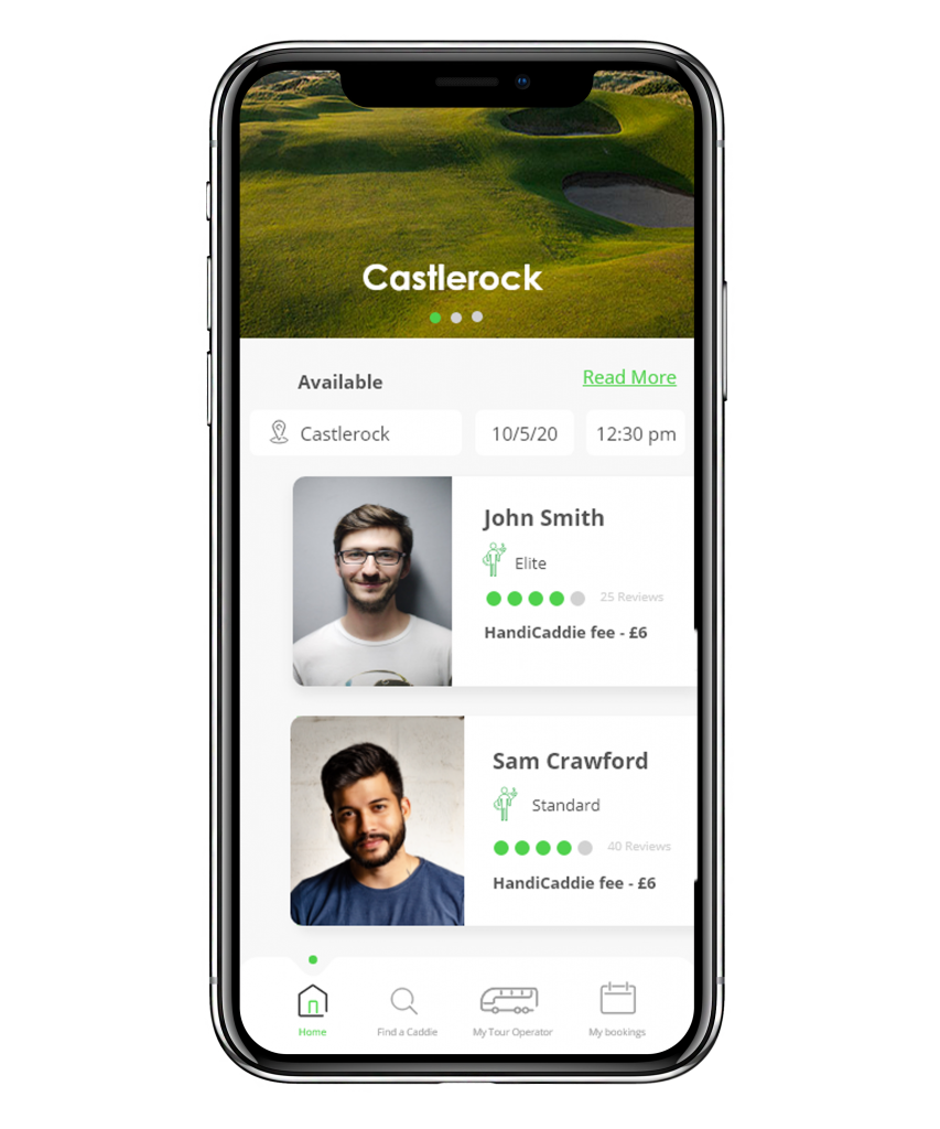 Golfers view of application